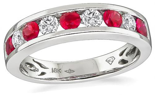 Round Cut Ruby and Diamond 18k White Gold Wedding Band