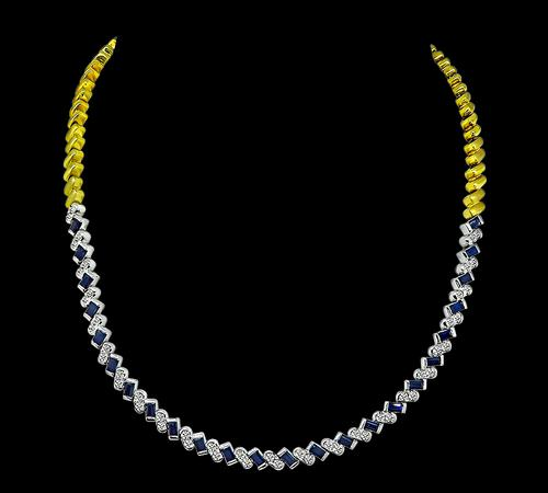 Round Cut Diamond Baguette Cut Sapphire 18k Yellow and White Gold Necklace