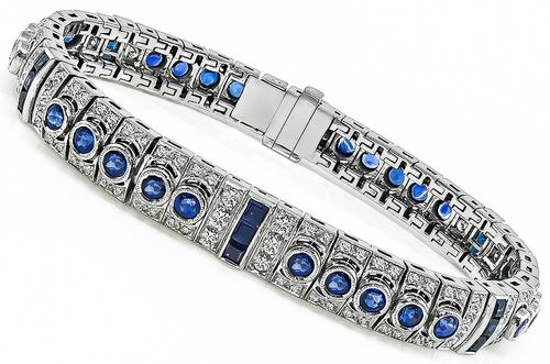 Round and Square Cut Sapphire Round Cut Diamond 18k White Gold Bracelet