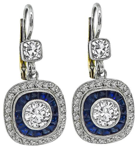 Round Cut and Old Mine Cut Diamond Sapphire Platinum and Gold Earrings