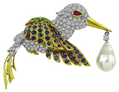Round Cut diamond Sapphire Emerald South Sea Pearl 18k and 14k Gold Humming Bird Pin
