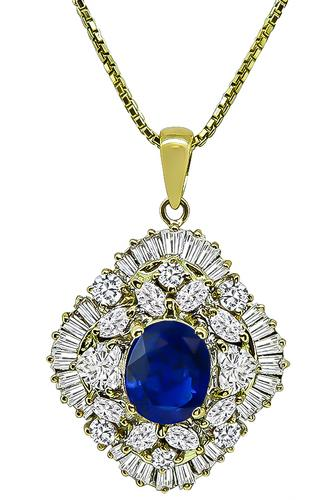 Cushion Cut Sapphire Baguette Round Heart and Marquise Cut Diamond 18k Yellow Gold Pendant Necklace
