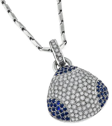 Round Cut Diamond Round Cut Sapphire 18k White Gold Pendant and 14k White Gold Chain Necklace