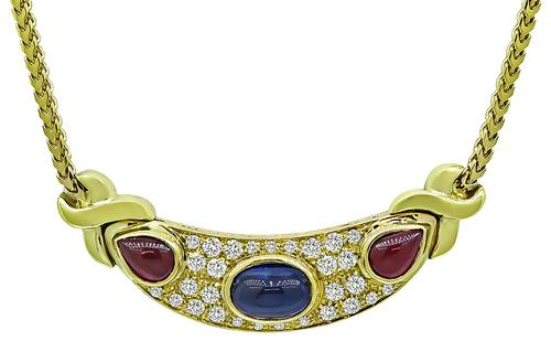 Round Cut Diamond Cabochon Sapphire and Ruby 18k Yellow Gold Necklace