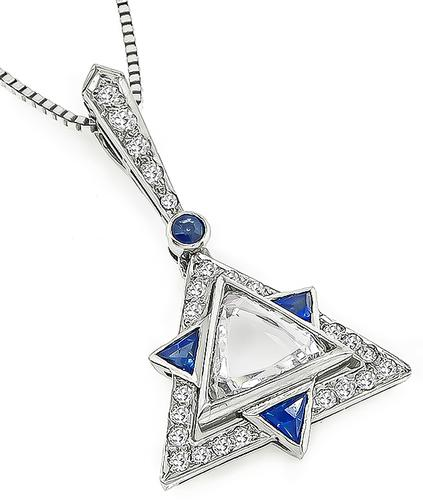 0.50ct Trilliant Rose Cut Diamond 0.40ct Round Cut Diamond Sapphire Platinum Star of David Pendant Necklace