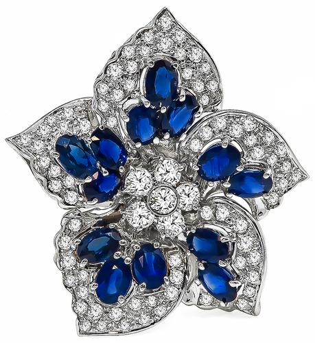 Oval Cut Sapphire Round Cut Diamond 18k White Gold Star Pin
