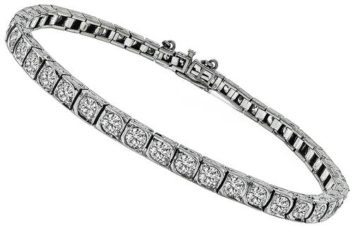 Vintage European Cut Diamond 14k White Gold Tennis Bracelet
