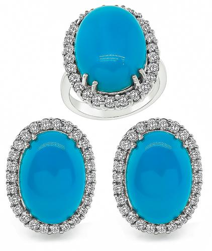 Cabochon Turquoise Round Cut Diamond 14k White Gold Ring and Earrings Set