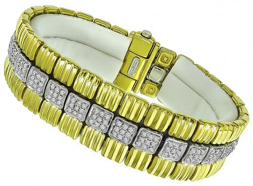 Round Cut Diamond Two Tone 18k Yellow and White Gold Bracelet by Chimento