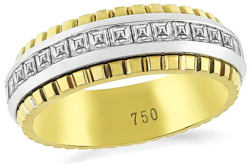Carre Cut Diamond Two Tone 18k Yellow and White Gold Eternity Wedding Band