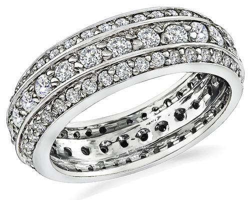 Round Cut Diamond 14k White Gold Wedding Band