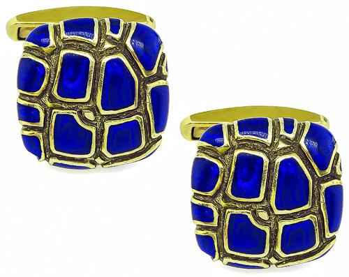 14k Yellow Gold Enamel Cufflinks