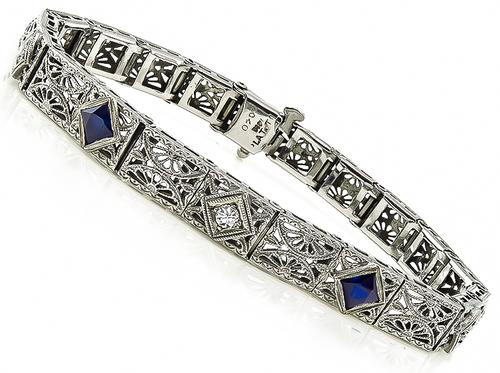 Edwardian Diamond Sapphire 14k White Gold Platinum Top Filigree Bracelet