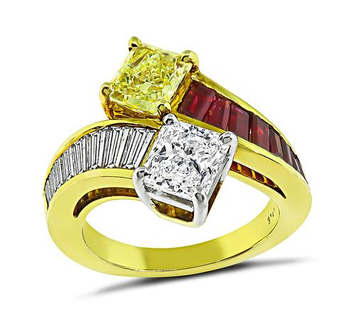 Radiant Cut Diamond and Fancy Yellow Diamond 18k Yellow Gold Ring