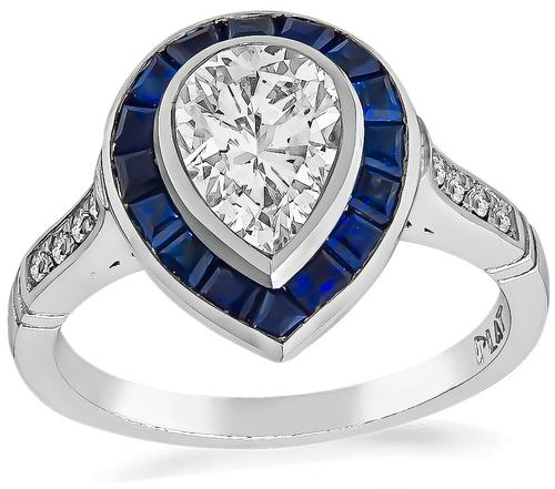 Pear Shape Diamond Sapphire Platinum Engagement Ring