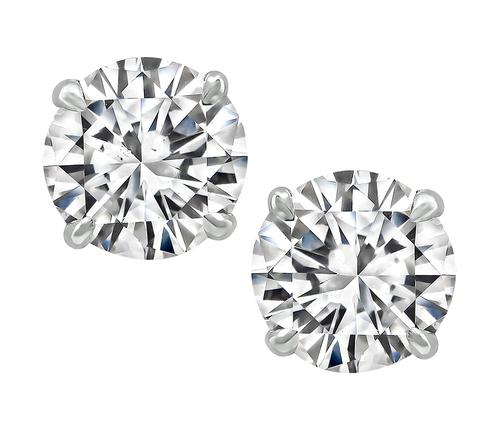 2.16cttw Round Brilliant Cut Diamond 14k White Gold Studs Earrings