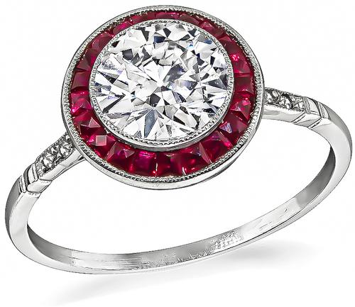 Art Deco Style Old Mine Cut Diamond Ruby Platinum Engagement Ring