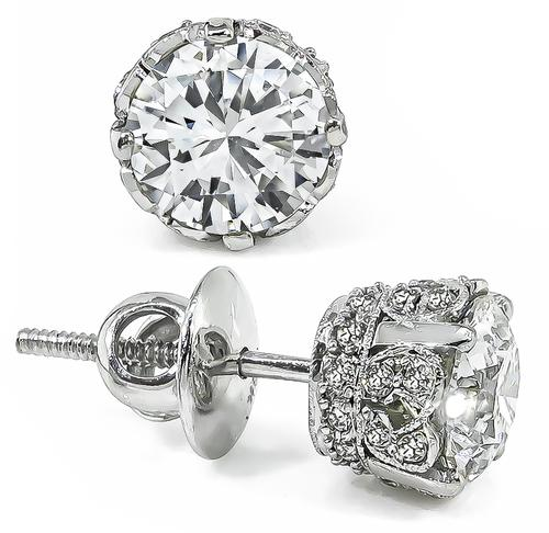 2.10cttw Round Cut Diamond 18k White Gold Studs Earrings