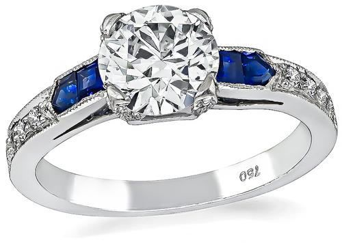 Art Deco Style Round Brilliant Cut Diamond Sapphire 18k White Gold Engagement Ring