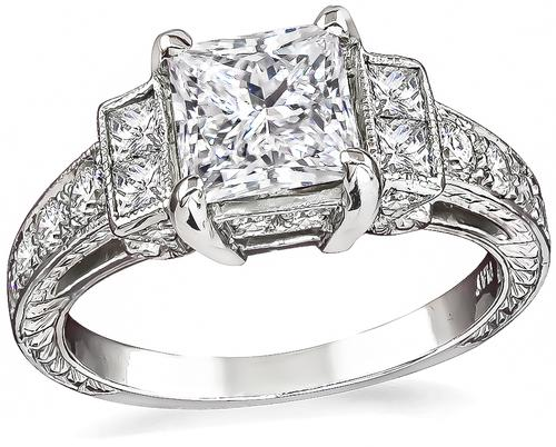 Princess Cut Diamond Platinum Engagement Ring