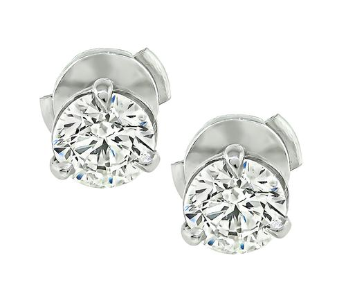 0.63ct and 0.63ct Round Brilliant Cut Diamond Platinum Studs Earrings