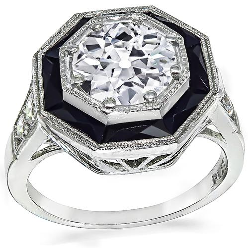 Art Deco Old European Cut Diamond Onyx Platinum Engagement Ring
