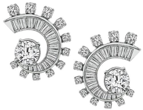 1950s 3.83cttw Old European Round and Baguette Cut Diamond Platinum Earrings
