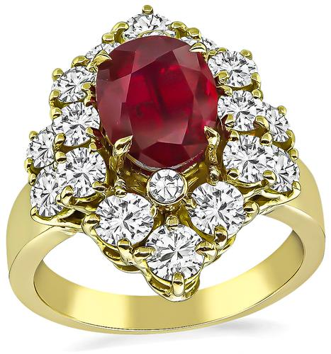 Oval Cut Natural Ruby Round Cut Diamond 18k Yellow Gold Ring