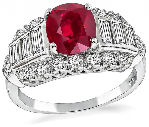 Oval Cut Burma Ruby Baguette and Round Cut Diamond 14k White Gold Engagement Ring