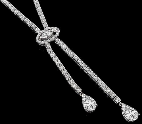 Art Deco Pear Shape Diamond Marquise and Round Cut Diamond 14k White Gold Necklace