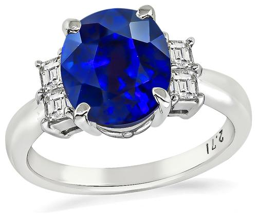 Oval Cut Sapphire Carre Cut Diamond Platinum Engagement Ring