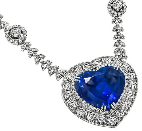 Heart Shape Ceylon Sapphire Round Cut Diamond Platinum Heart Pendant Necklace