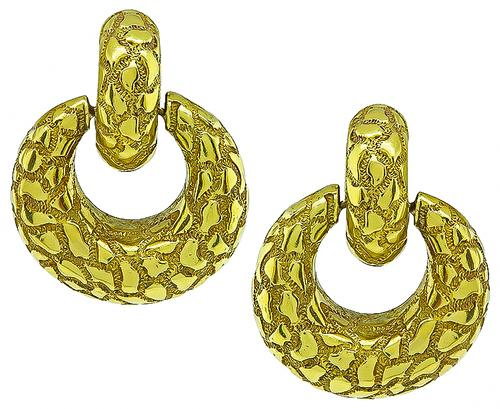 18k Yellow Gold Door Knocker Day and Night Earrings