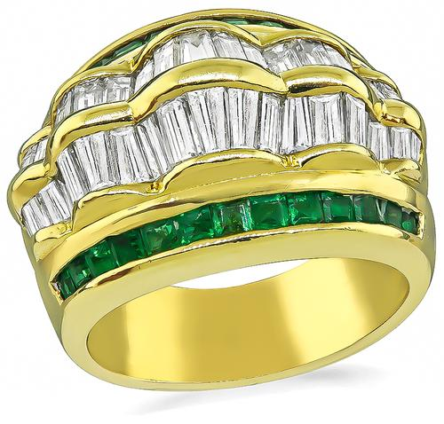 Baguette Cut Diamond Square Cut Emerald 18k Yellow Gold Ring