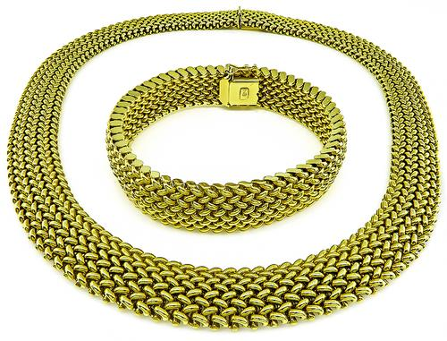 14k Yellow Gold Weave Necklace and Bracelet Set