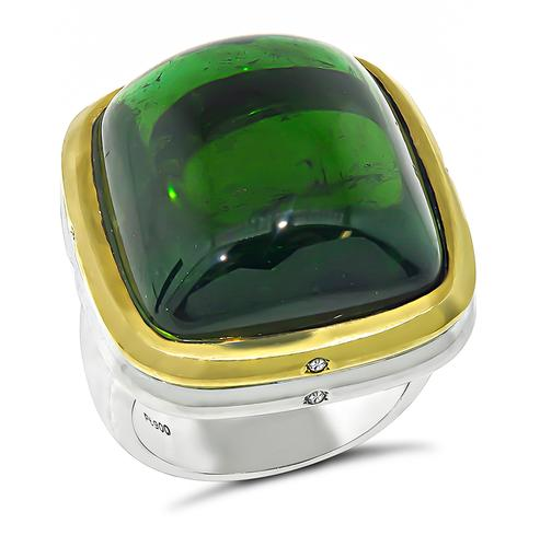 Cabochon Green Tourmaline 18k Yellow Gold and Platinum Ring