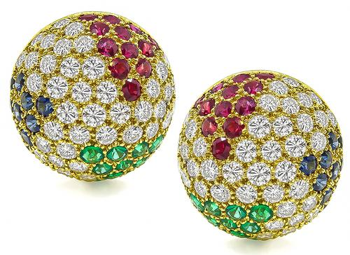 Round Cut Diamond Emerald Sapphire Ruby 18k Yellow Gold Earrings by Hammerman Brothers
