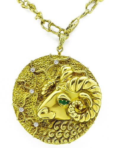1960s Hammerman Brothers Rams Head Aries Constellation 18k Yellow Gold Pendant Necklace