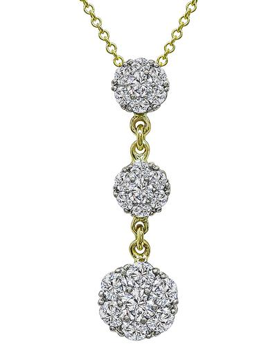 Round Cut Diamond 18k Yellow and White Gold Pendant Necklace by Jabel