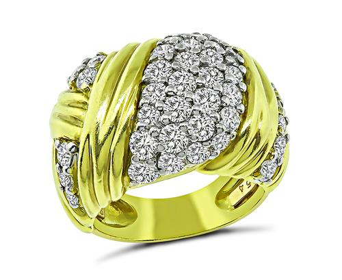 Round Cut Diamond 18k Yellow Gold Ring by Jose Hess