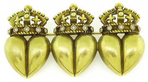 18k Yellow Gold Triple Royal Crown and Heart Pin by Kieselstein Cord