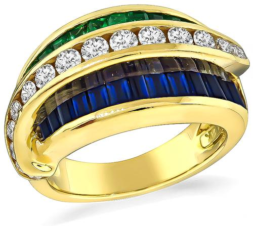 Estate Round Cut Diamond Baguette Cut Sapphire Emerald 18k Yellow Gold Ring by Krypell