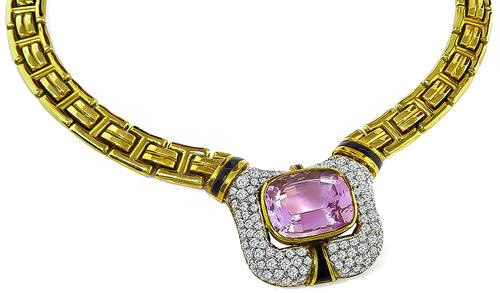 Cushion Cut Kunzite Round Cut Diamond 18k Yellow and White Gold Necklace