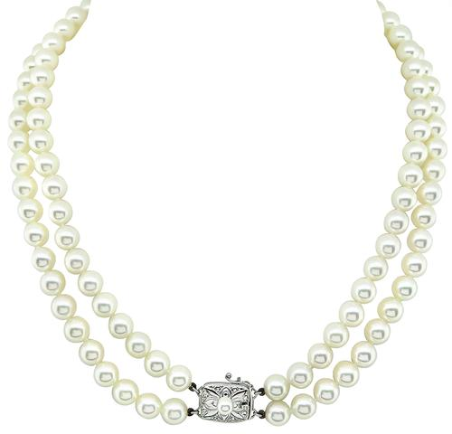 18k White Gold Clasp Two Strands Pearl Mikimoto Necklace