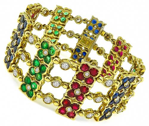 Round Cut Diamond Round Cut Ruby Sapphire and Emerald 18k Yellow Gold Bracelet