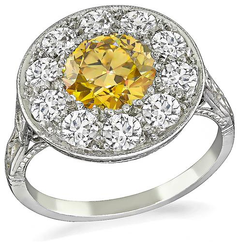 Round Cut Fancy Orange Brown Diamond Old Mine Cut Diamond Platinum Ring