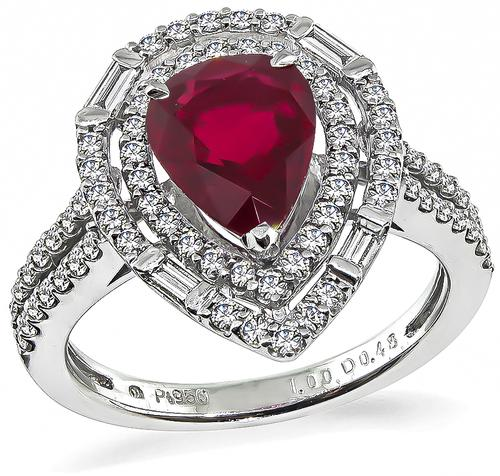 Pear Shape Ruby Round and Baguette Cut Diamond Platinum Ring