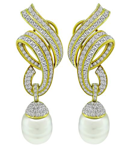 Round and Carre Cut Diamond South Sea Pearl 18k Yellow Gold Earrings