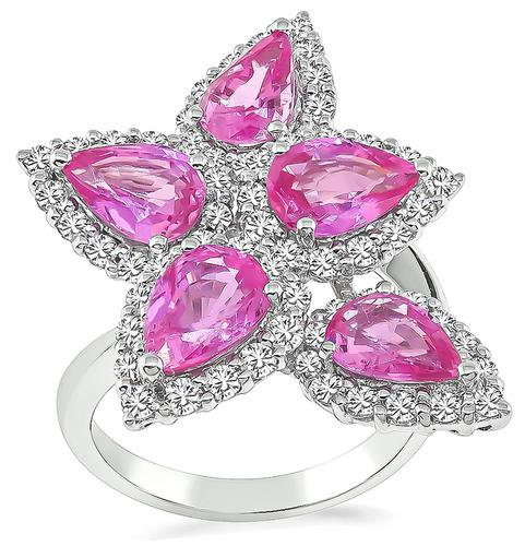 Pear Shape Pink Sapphire Round Cut Diamond 18k White Gold Cocktail Ring