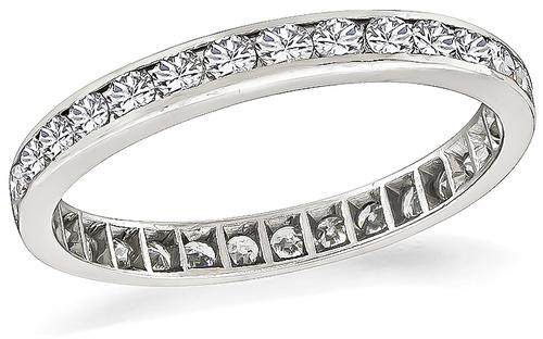Platinum Round Cut Diamond Eternity Wedding Band